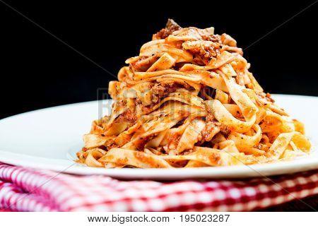 pasta Italian meat sauce pasta on the table