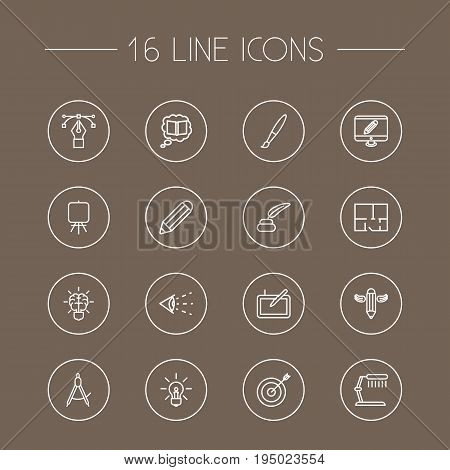 Set Of 16 Creative Outline Icons Set.Collection Of Dividers, Property Plan, Graphic Tablet And Other Elements.
