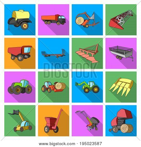 Trailer, dumper, tractor, loader and other equipment. Agricultural machinery set collection icons in flat style vector symbol stock illustration .