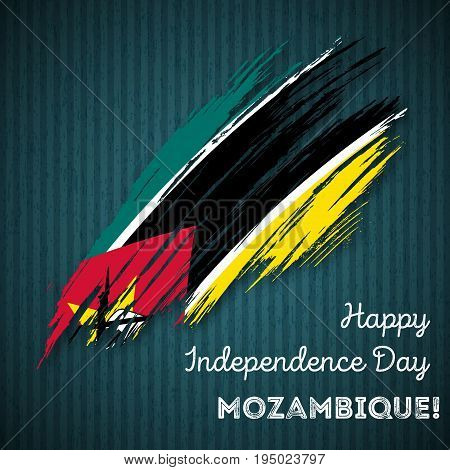 Mozambique Independence Day Patriotic Design. Expressive Brush Stroke In National Flag Colors On Dar