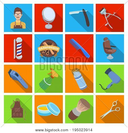 Male barber, symbol, clipper and other equipment for hairdressing.Barbershop set collection icons in flat style vector symbol stock illustration .