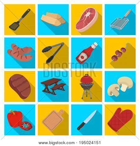 Meat, steak, firewood, grill, table and other accessories for barbecue.BBQ set collection icons in flat style vector symbol stock illustration .
