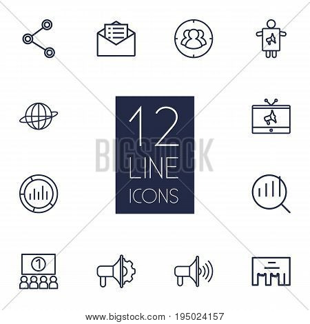 Set Of 12 Trade Outline Icons Set.Collection Of Research, Advertising Agency, Audience And Other Elements.