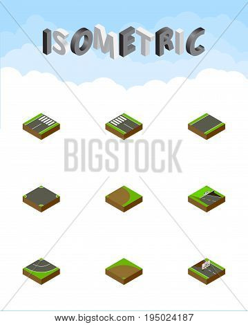 Isometric Road Set Of Unilateral, Crossroad, Rotation And Other Vector Objects. Also Includes Turn, Unilateral, Pedestrian Elements.