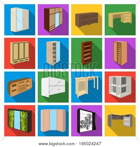 Wardrobe, mirror, wood and other icons of interior. Interior set collection icons in flat style vector symbol stock illustration.