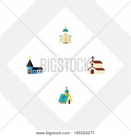 Flat Icon Christian Set Of Religious, Architecture, Christian And Other Vector Objects. Also Includes Building, Faith, Christian Elements.