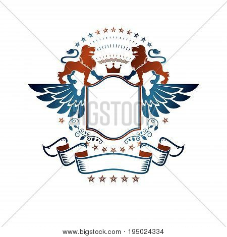 Graphic emblem with Lion heraldic animal element royal crown and bird wings. Heraldic Coat of Arms decorative logo isolated vector illustration.