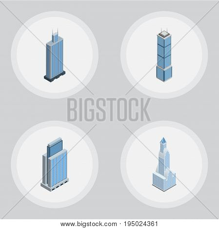 Isometric Construction Set Of Cityscape, Apartment, Urban And Other Vector Objects. Also Includes Apartment, Urban, Cityscape Elements.