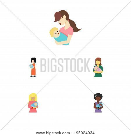 Flat Icon Mam Set Of Mam, Child, Woman And Other Vector Objects. Also Includes Mother, Nanny, Woman Elements.