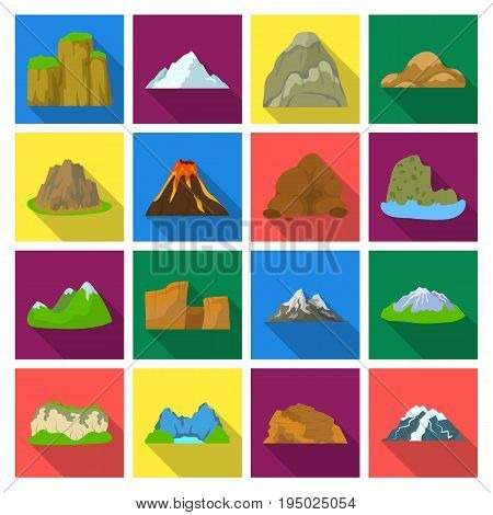 Rock, peak, volcano, and other kinds of mountains. Different mountains set collection icons in flat style vector symbol stock illustration .