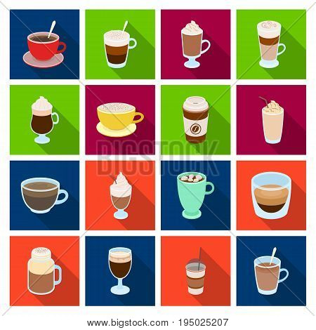 Different types of coffee. Different types of coffee. set collection icons in flat style vector symbol stock illustration.
