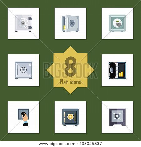 Flat Icon Strongbox Set Of Protection, Coins, Saving And Other Vector Objects. Also Includes Closed, Unlock, Safe Elements.
