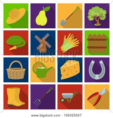 Mill, gloves, fence and other farm equipment. Farm and gardening set collection icons in flat style vector symbol stock illustration.