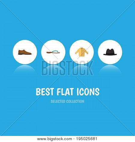 Flat Icon Dress Set Of Male Footware, Banyan, Panama And Other Vector Objects. Also Includes Fedora, Banyan, Flop Elements.