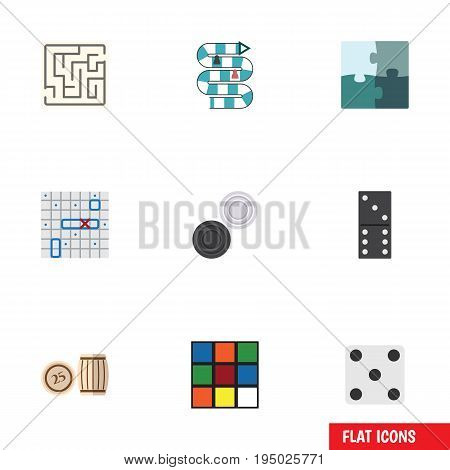 Flat Icon Play Set Of Chequer, Bones Game, Labyrinth And Other Vector Objects. Also Includes Bingo, Battle, Lost Elements.