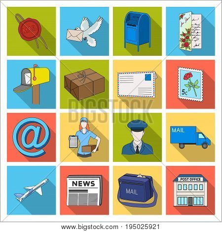 Postman, envelope, mail box and other attributes of postal service.Mail and postman set collection icons in flat style vector symbol stock illustration .