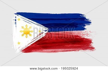 Grunge watercolor imitation brushed Flag of the Philippines. Pambansang Watawat ng Pilipinas.  Vector illustration.