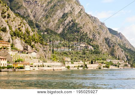 View of the Garda Lake and the old town of Limone in Italy