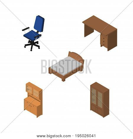 Isometric Furnishing Set Of Bedstead, Table, Cabinet And Other Vector Objects. Also Includes Cabinet, Locker, Armchair Elements.