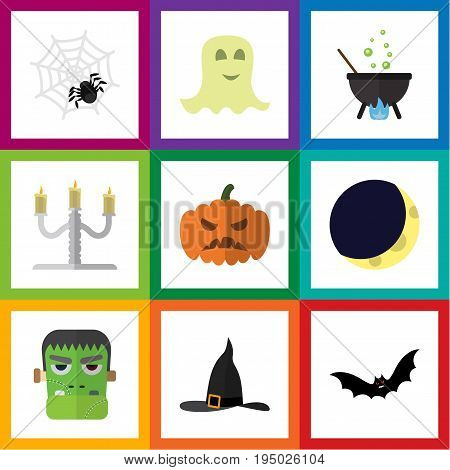 Flat Icon Halloween Set Of Spirit, Spinner, Monster And Other Vector Objects. Also Includes Arachnid, Pumpkin, Specter Elements.