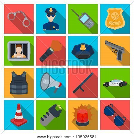 Police set icons in flat design. Big collection of police vector symbol stock illustration