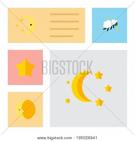 Flat Icon Midnight Set Of Starlet, Bedtime, Nighttime And Other Vector Objects. Also Includes Lunar, Moon, Sky Elements.