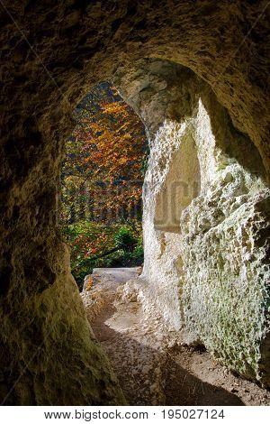 Autumn view from the Diana Grotto of Ermitage Arlesheim Switzerland