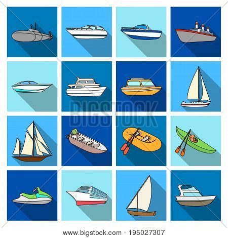 Yacht, boat, liner, types of ship and water transport. Ship and water transport set collection icons in flat style vector symbol stock illustration .