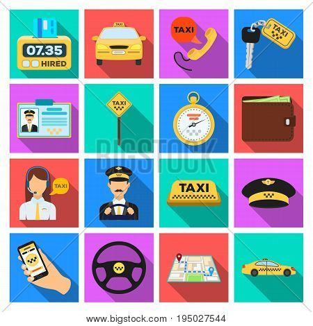 Parking, dispatcher, taxi driver are all for taxi service. Taxi set collection icons in flat style vector symbol stock illustration.
