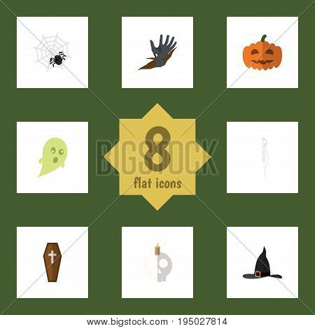 Flat Icon Celebrate Set Of Skeleton, Phantom, Gourd And Other Vector Objects. Also Includes Witch, Hat, Hand Elements.