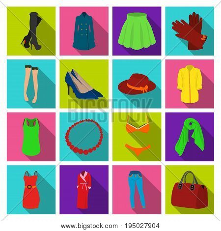 Dress, bra, shoes, women's clothing. Women's clothing set collection icons in flat style vector symbol stock illustration .