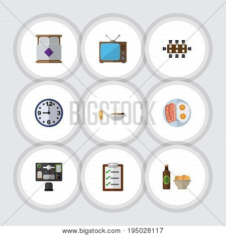 Flat Icon Oneday Set Of Bureau, Watch, Television And Other Vector Objects. Also Includes Boardroom, Bed, Food Elements.