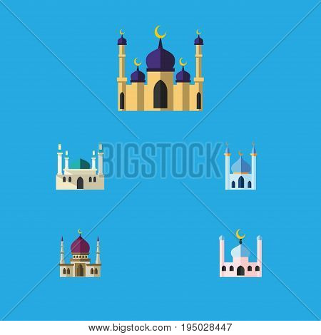 Flat Icon Mosque Set Of Structure, Traditional, Muslim And Other Vector Objects. Also Includes Minaret, Architecture, Mohammedanism Elements.