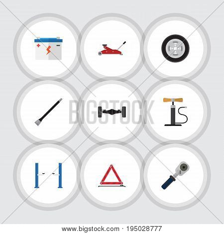 Flat Icon Workshop Set Of Lifting, Pipeline, Warning And Other Vector Objects. Also Includes Battery, Axis, Coupler Elements.