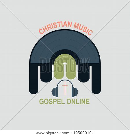 Vinyl record with Christian logo in the middle. Symbolizes a Christian music Studio. Cross and treble clef in the middle of a vinyl record.