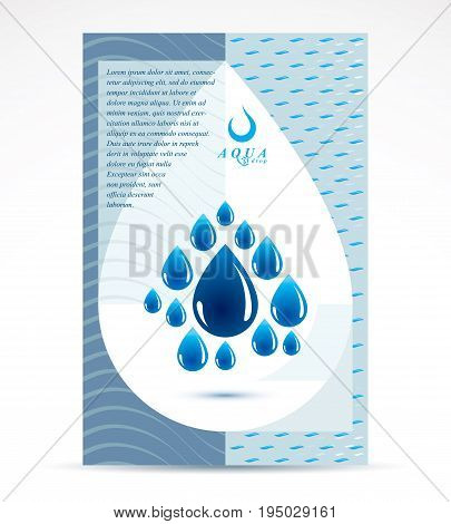Water purification business promotion idea brochure head page. Vector blue clear water drops.