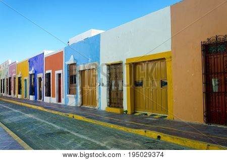 Colorful houses on a street in Campeche Mexico