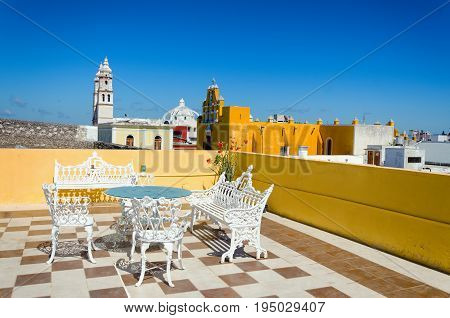 View of beautiful roof on a building in Campeche Mexico