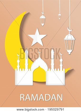 Ramadan kareem blue color background. Paper cut vector illustration.
