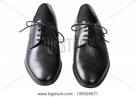 Black man leather shoes with shoelaces isolated on white background with clipping path