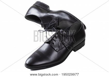 Black man leather shoes with shoelaces isolated on white background