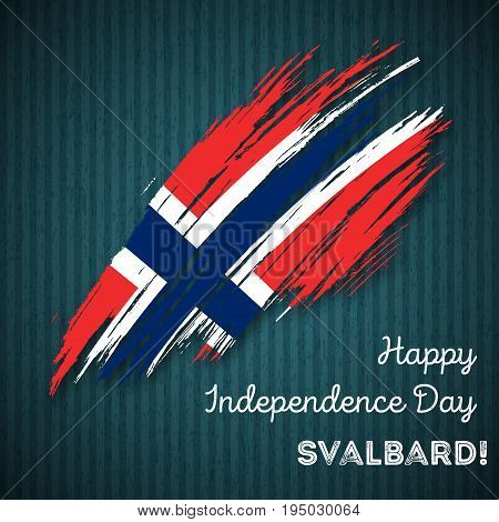 Svalbard Independence Day Patriotic Design. Expressive Brush Stroke In National Flag Colors On Dark