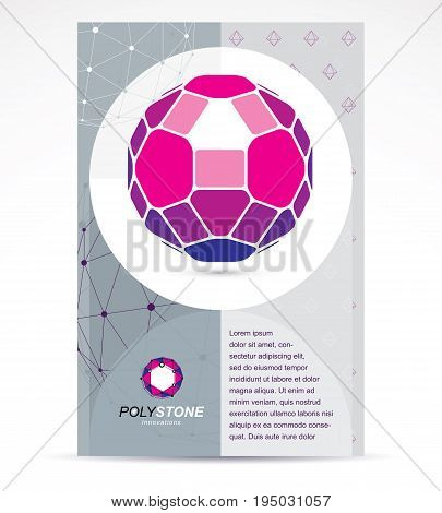 Web technologies company booklet cover design. 3d design colorful abstract vector faceted shape.