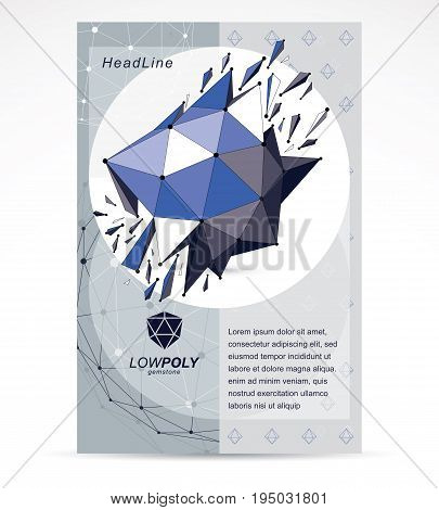 Digital innovations business promotion idea brochure head page. Vector abstract 3d bright geometric damaged shape polygonal figure with fragment and pieces.