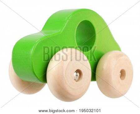 Green wooden toy car