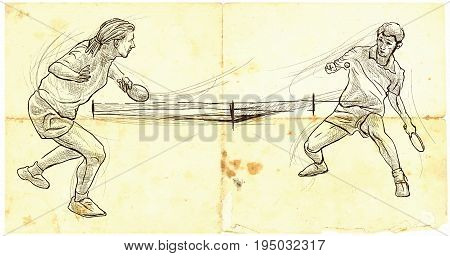 An hand drawn illustration vector. Sport TABLE TENNIS Ping-Pong. Line art techniques drawing.