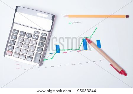 Checking the financial statement balance sheet with calculator pen and pencil