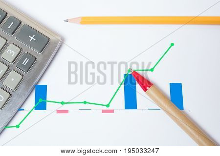 Checking the financial statement sheet with calculator pen and pencil