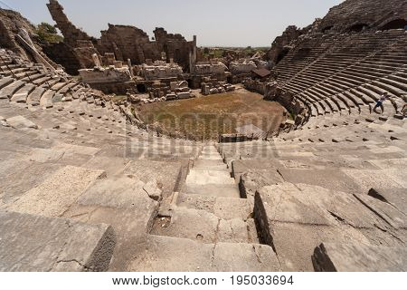 Archaeological ruins of the era of ancient Greece in Side, Turkey