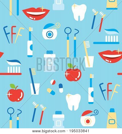 seamless pattern of dental care products: tooth paste, tooth brush, cup, apple, smiling teeth, white tooth, dental floss, and mouthwash